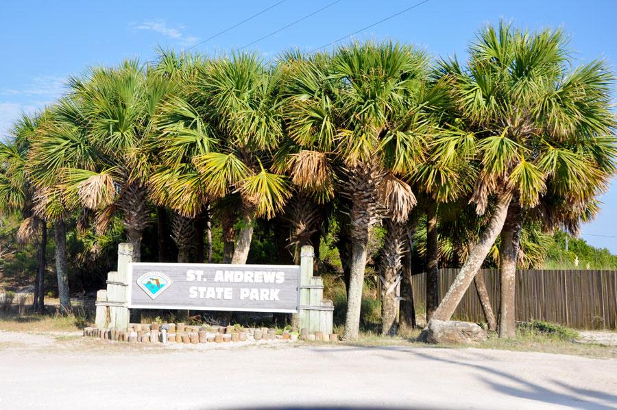 St. Andrews State Park - Eingangsschild